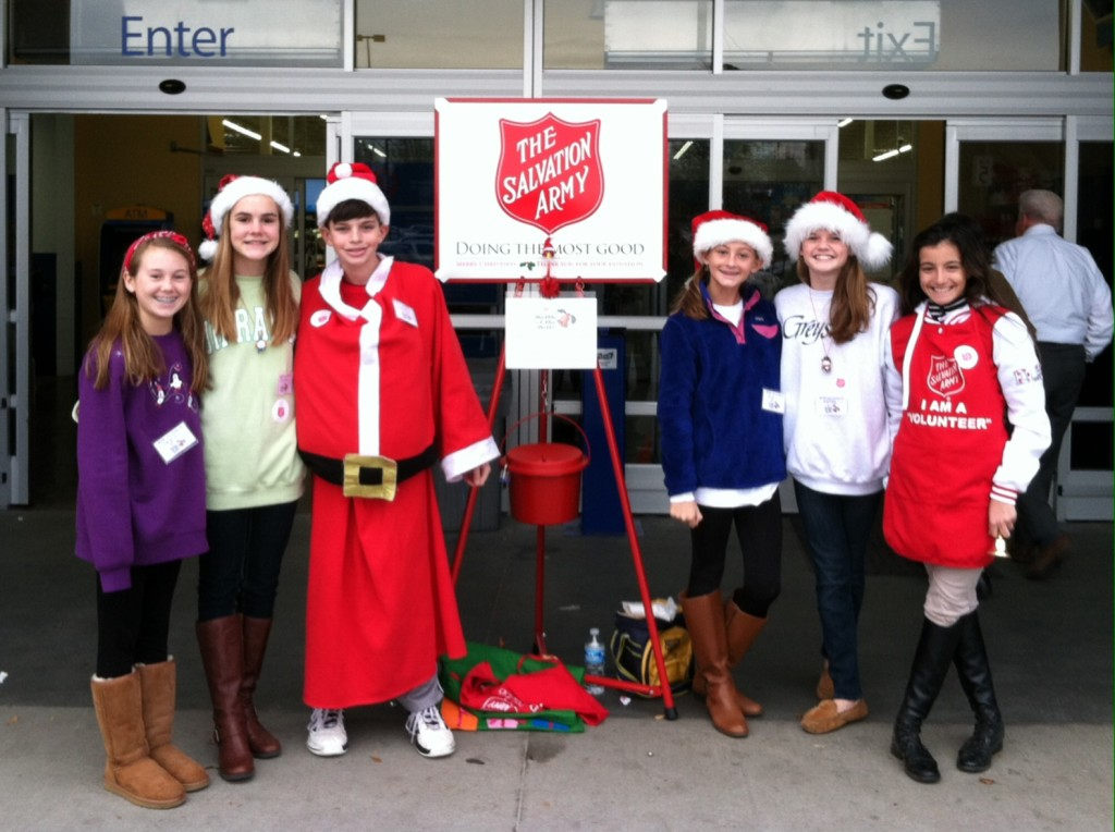 The Middle School Community Service Club spent a recent Saturday as bell ringers for the Salvation Army.